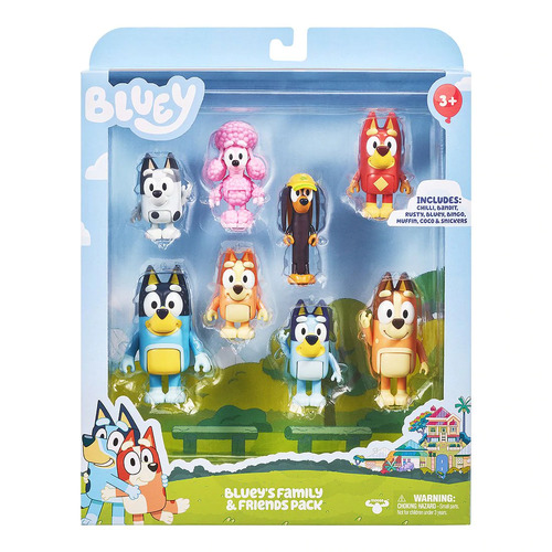 Bluey Family & Friends Figurines 8 Pack